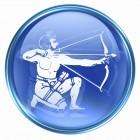 Sagittarius zodiac button icon, isolated on white background.