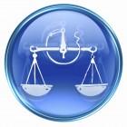 Libra zodiac button icon, isolated on white background.