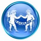 Gemini zodiac button icon, isolated on white background.
