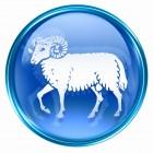 Aries zodiac button icon, isolated on white background.