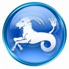Capricorn zodiac button, isolated on white background.