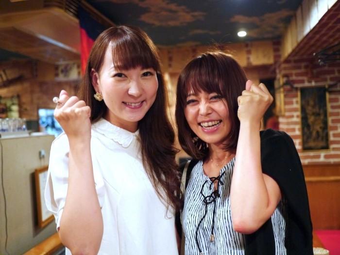 気合いを入れる能美さんと平山さん