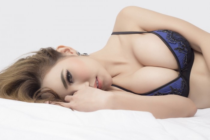 Young beautiful Sexy Asian model wearing elegant lingerie
