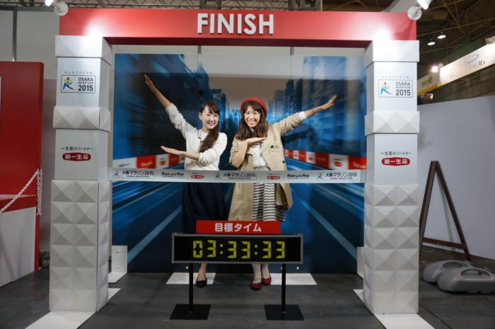 EXPO会場にて、目標タイムとともに撮影。
