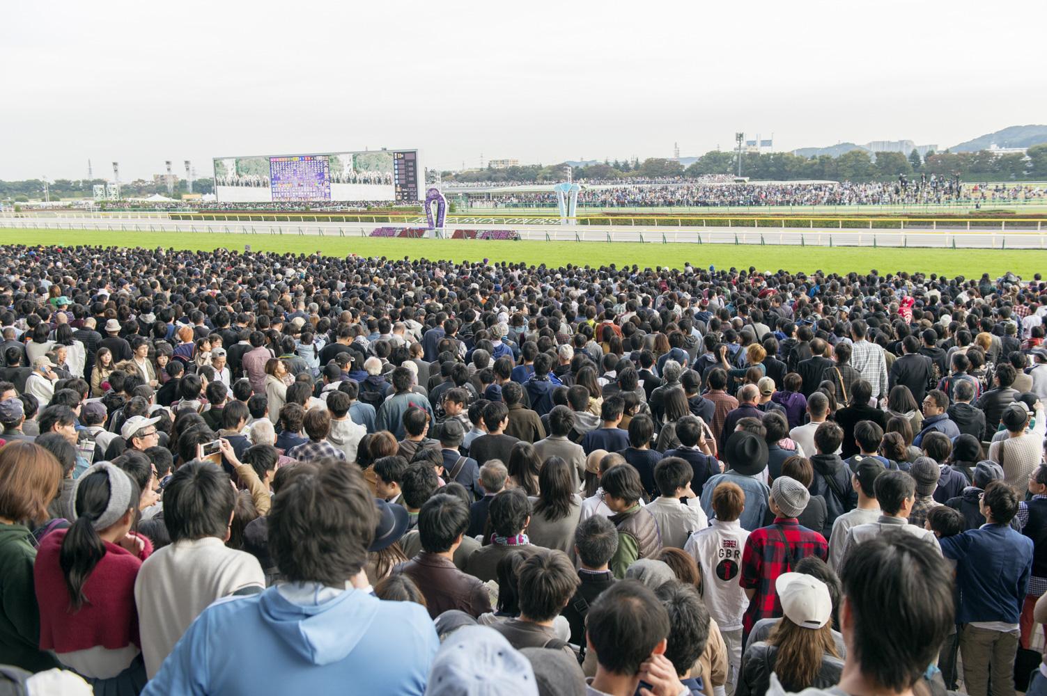 天皇賞となる第11レース直前のスタンドは人、人、人!