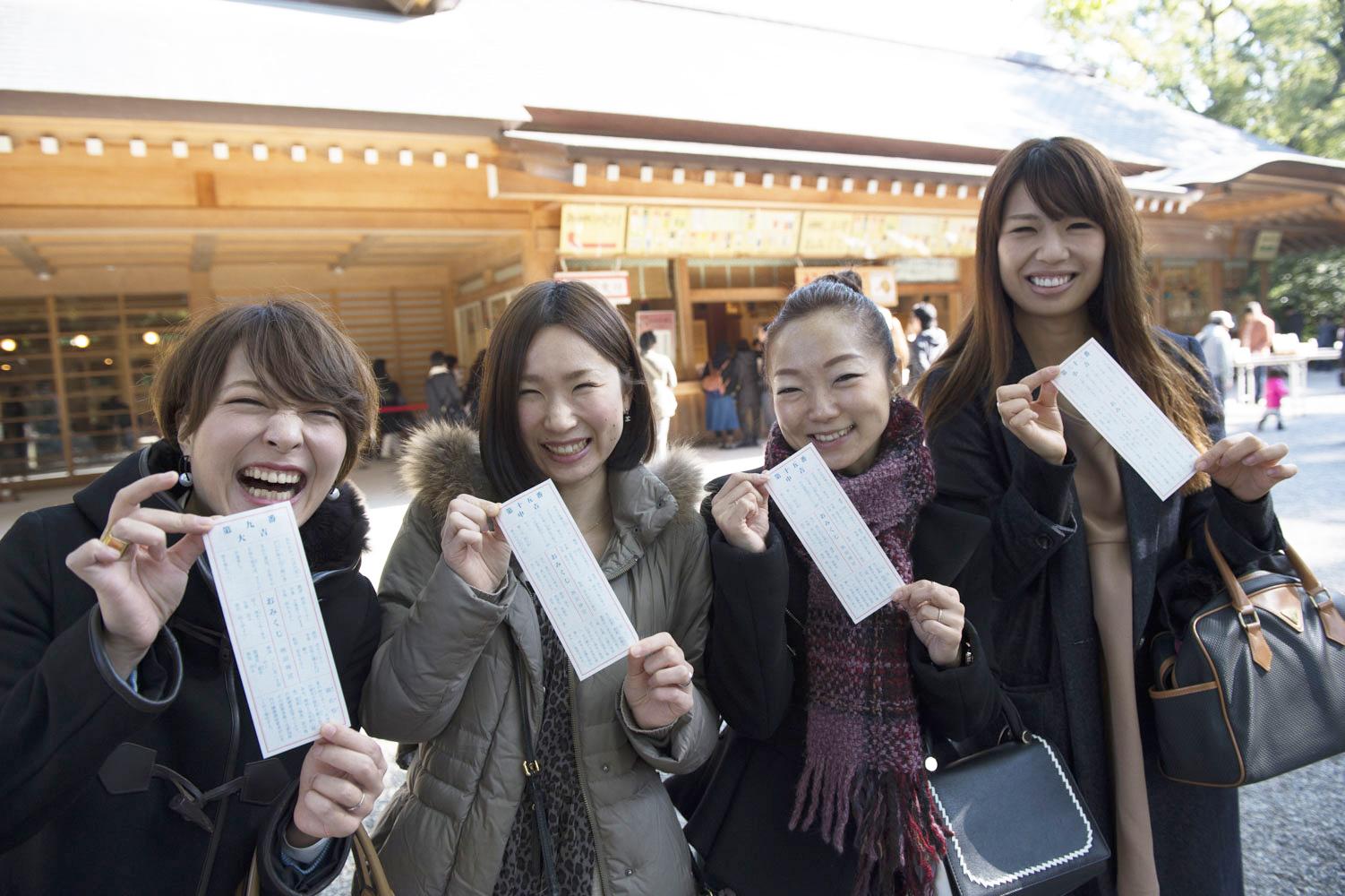 左から、大吉の仲肥さん、中吉の宮内さんと福田さん、小吉の木下さん。
