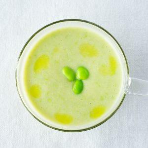 【夏バテ防止!】エダマメと豆乳のひんやりスープ、『エダマメの冷製ポタージュ』。