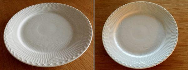 左はカメラを皿に近づけて撮った写真。右はズームインして撮影。皿の手前を比べてみると、左の皿が少し歪んているのがわかります。