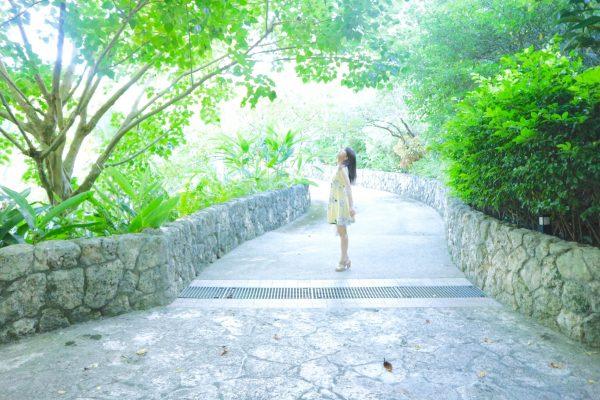 緑でいっぱいの庭園を歩いてスパ棟へ。