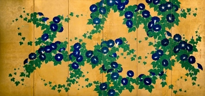 Morning Glories; 朝顔図屏風