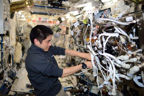 「きぼう」日本実験棟で作業中の大西卓哉宇宙飛行士。真剣!(C)JAXA/NASA