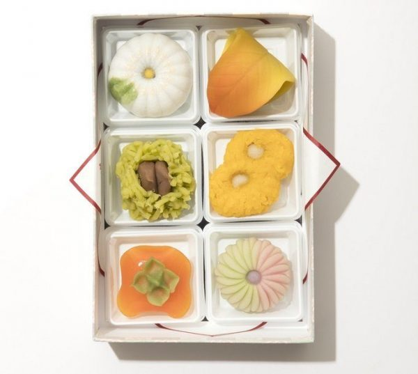 和菓子 塩野「季節の生菓子」6個入り¥2,430(税込み)。写真は10月の生菓子。毎月12種類ほど販売される。贈答用の箱入りは6個~。配送可。東京都港区赤坂2-13-2 TEL:03・3582・1881 9:00~19:00(土・祝日~17:00) 日曜休