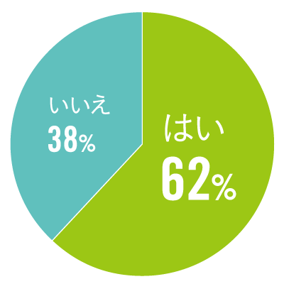 Q. 日常生活で、瞳のお悩みはありますか? A. はい:62%、いいえ:38%