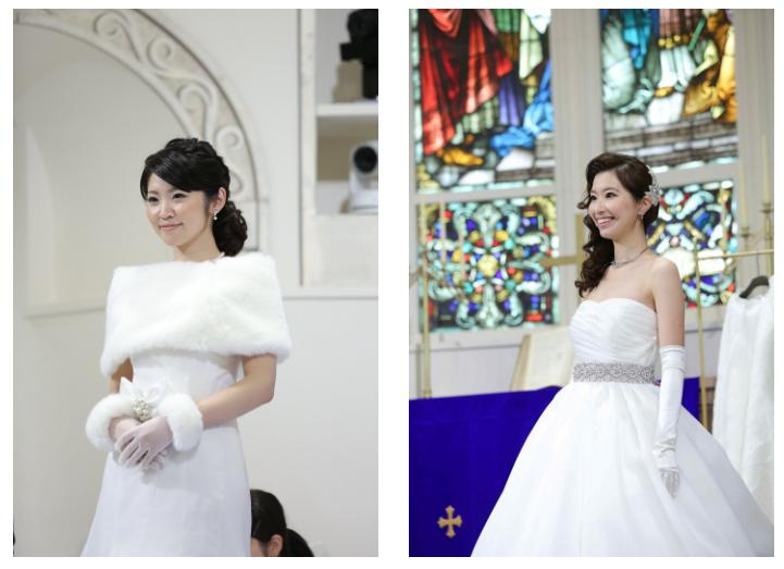 (左から)カスタムメイドドレスに身を包んだ井上あずささん(No.74)、須藤真里奈さん。