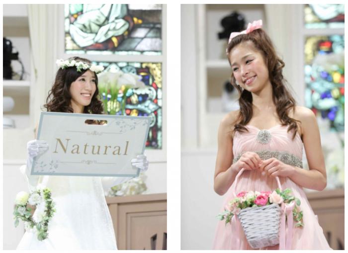 (左から)「ナチュラル」に身に包んだ野形仁美さん(no.54)、「スウィートレディ」に身に包んだ古角夕貴さん(no.199)。