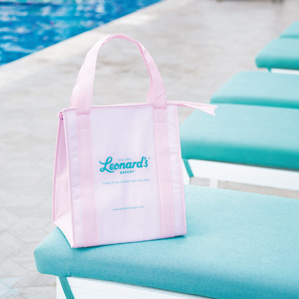 『レナーズ・ベーカリー』ピンクボックスのロゴ保冷バッグ