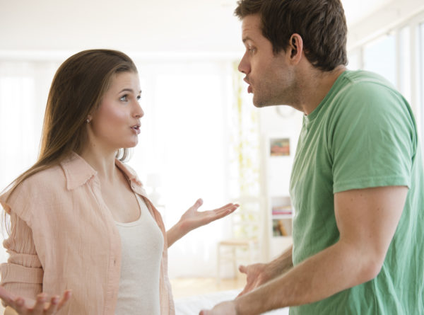 USA, New Jersey, Jersey City, Young couple arguing