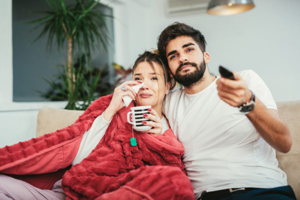 Photos  Couple Relaxing At Home Watching Television