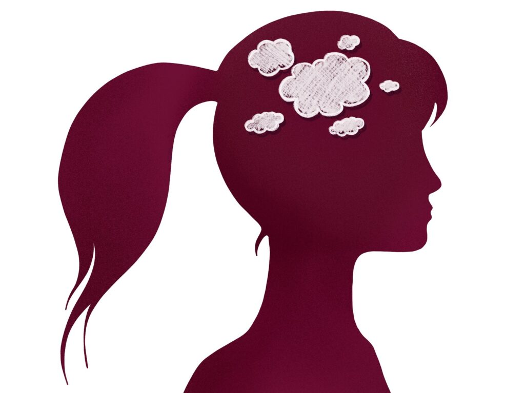 Illustration of clouds in a woman's head