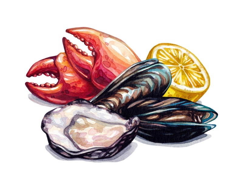 Seafood,Composition.,Watercolor,Seafood.,Mussels,,Oysters,,Crab,Claws,,Lemon.,Watercolor