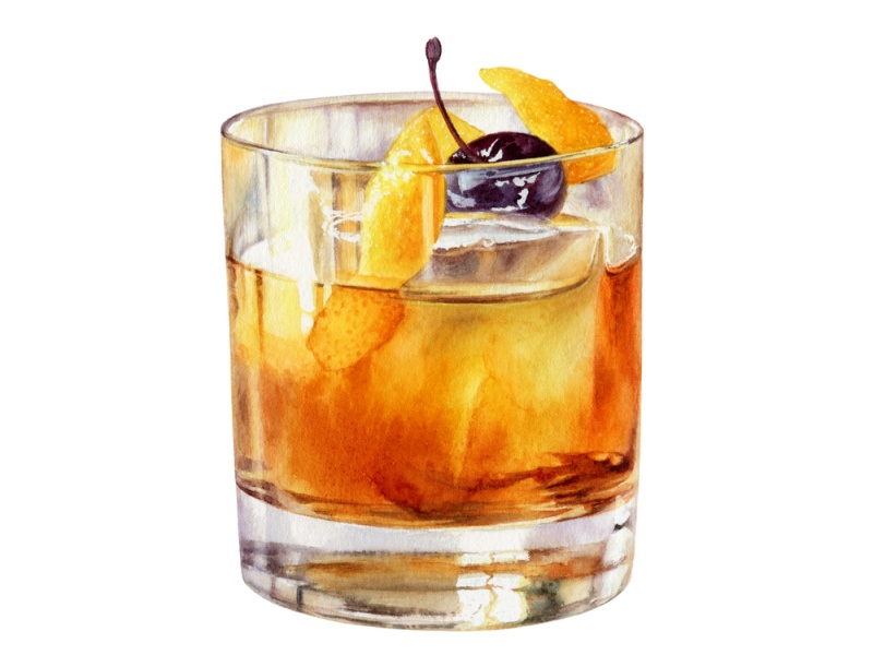 Old,Fashioned,Cocktail,In,A,Rocks,Glass,With,A,Luxardo