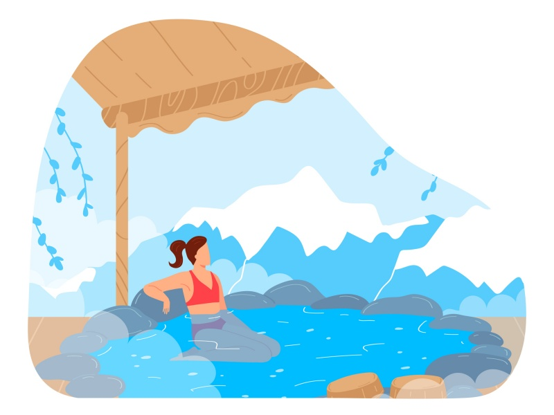 Woman at japan vacation, japanese hot spring bath for female character vector illustration. Relax at rock nature, cartoon hot water with steam.