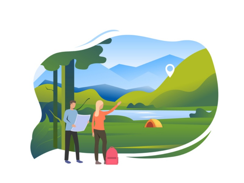 Set of people pointing at camping, traveling on foot