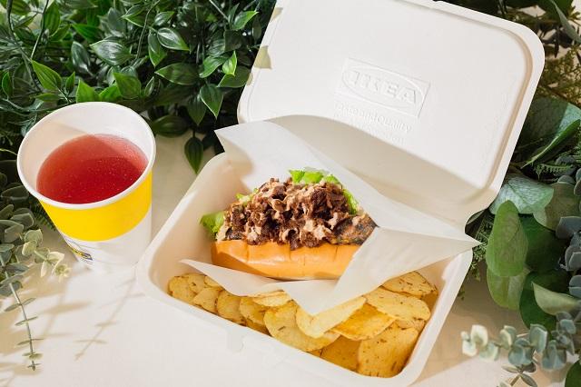 【イケア】『ベジドッグ』ドリンク&ポテトチップスセット