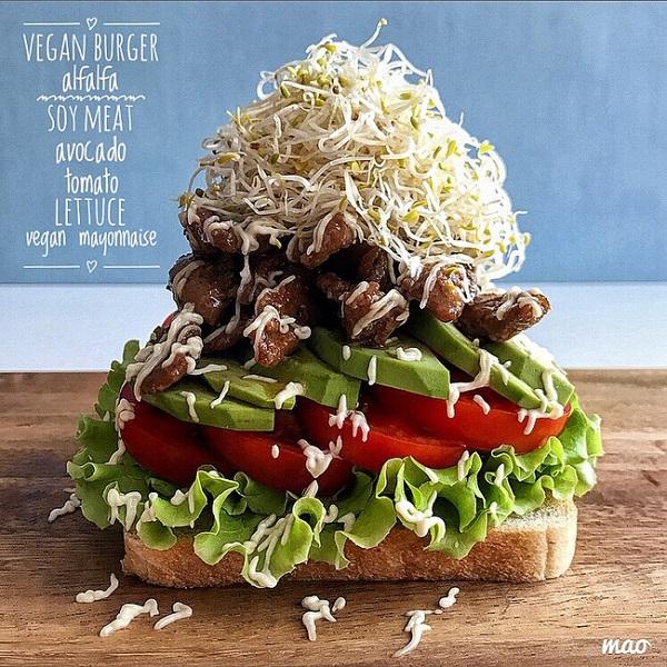 【SnapDish】テリヤキ味の大豆ミートとたっぷりの野菜で作った「ヴィーガンベジタブルバーガー」