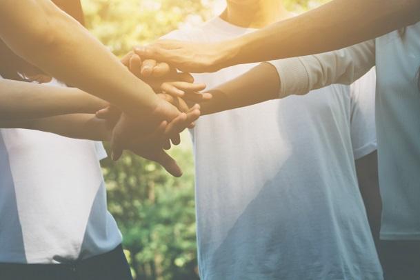 ジョイセフTシャツのチャリティーキャンペーンTeam,Teamwork,Business,Join,Hand,Together,Concept,,Power,Of,Volunteer