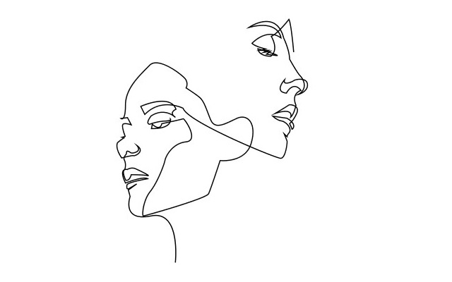 女性2人 スタイリッシュ イラスト