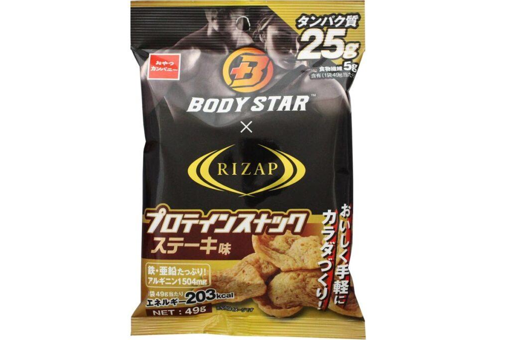 【株式会社おやつカンパニー】『ライザップ×BODY STAR プロテインスナック(ステーキ味)』