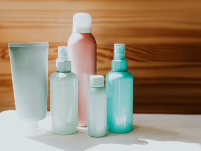 Bunch of of lotions and potions in various shapes, colours and sizes.